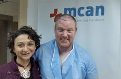 Another happy patient! Our FUE Hair Transplant patient K.M.C from Ireland is smiling for the cameras before the operation with our Customer Experience Specialist Bilgen!