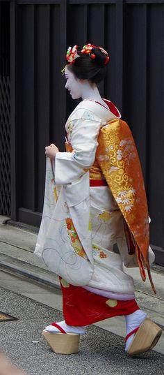 Kimono, Japan Walking in Traditional Japanese Okobo Clogs
