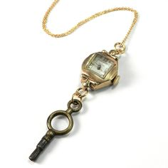 Antique Gold Watch & Key Necklace - Grandmother's Timepiece w/ Pocket Watch Key, Compass Rose Design Victorian and Steampunk Jewelry, Handmade in California