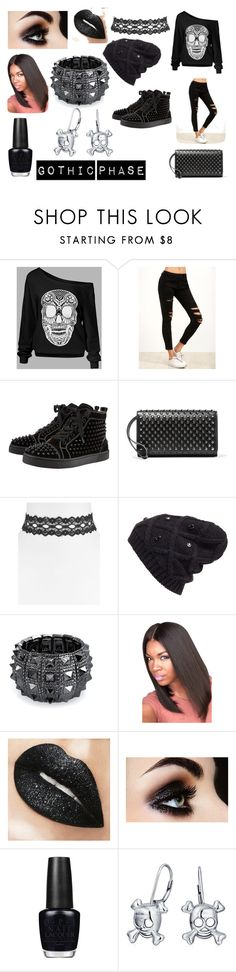 """Gothic Phase"" by rkumar20 on Polyvore featuring Christian Louboutin, Vanessa Mooney, Halogen, Bling Jewelry and OPI"