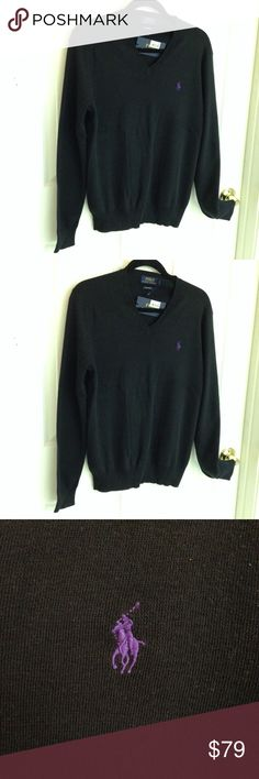 Ralph Lauren V-neck Black Sweater Ralph Lauren Polo V-neck black sweater. Brand new with tags. Never worn. 100% Pima cotton Size Men's Small Polo by Ralph Lauren Sweaters V-Neck