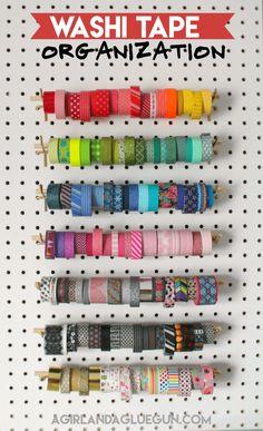 Organizing my craft room washi tape organziation - A girl and a glue gun Sewing Room Design, Sewing Room Storage, Sewing Room Organization, Craft Room Storage, Sewing Rooms, Sewing Spaces, Organizing Life, Pegboard Storage, Sewing Desk
