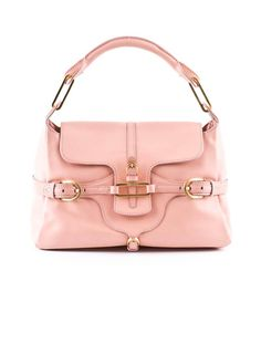 Jimmy Choo Leather Handbag  Pink leather bag with sliding front flap and top roll handle. Front buckle details and back ring details with brushed gold hardware. Fully lined with one zip and one open patch pockets.