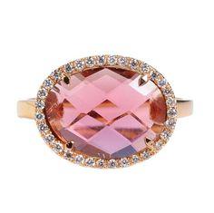 Greenwich Jewelers | Products | Designers | Suzanne Kalan | Suzanne Kalan Pink Tourmaline Ring with Diamond Halo