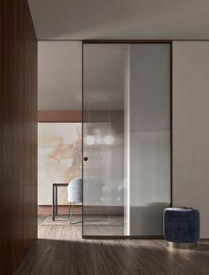 Kitchen Sliding Doors, Interior Sliding Glass Doors, Internal Sliding Doors, Sliding Door Design, Glass Barn Doors, Wood Doors, Kitchen Glass Doors, Showroom Interior Design, Bathroom Interior Design