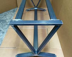 V-Shaped Dining Table Base, Super Heavy Duty Industrial Table Base, Set of 2 Legs and 3 Cross Braces