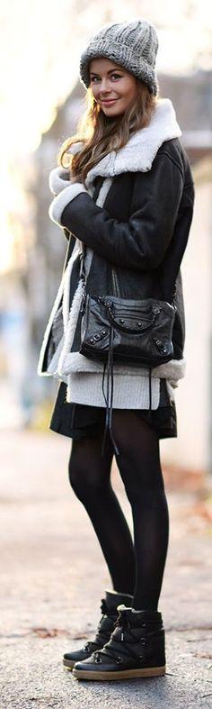 Black Shearling Jacket by Stylista #winter #oufits