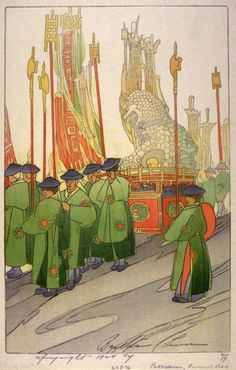 """""""Chinese Procession, Funeral Day"""" (1924) by Bertha Lum - de Young Legion of Honor"""