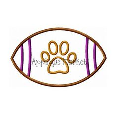 Show your team spirit with Applique Market's broad selection of sports-oriented designs. Support football with our customized football paw design that is a big crowd pleaser.