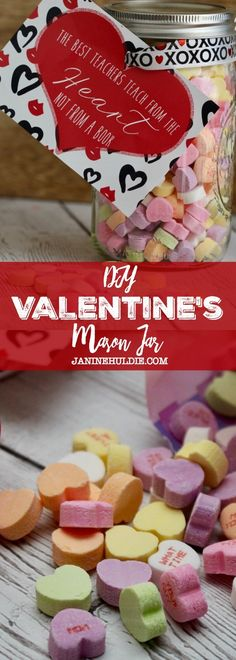 DIY Valentine\'s Mason Jar #ValetinesDay #masonjars #masonjarcrafts #teachergift #valentines