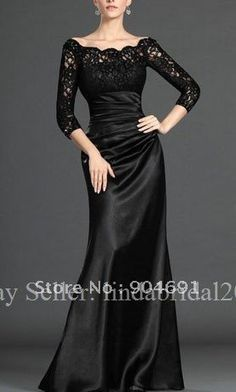 Black Evening Dress Floor Length Sheath Mother of The Bride Groom Dress Long Sleeve Lace Sleeves Prom Dress M1308 Sz 2 4 6 8 10+ on AliExpress.com. 7% off $129.27