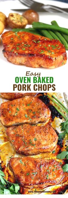 These Oven Baked Pork Chops are seasoned with simple spices and then baked to perfection. This baked pork chop recipe produces succulent, tender, juicy and flavorful pork chops every time! via pork chop recipe Easy Oven Baked Pork Chops Crock Pot Recipes, Easy Pork Chop Recipes, Yummy Recipes, Vegetarian Recipes, Healthy Recipes, Pork Chop Meals, Easy Oven Recipes, Simple Pork Recipes, Pork Lion Chops Recipes