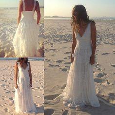 Sexy V-Ausschnitt Spitze Brautkleider Strand Hochzeitskleid Gr:32 34 36 38 40 42 in Kleidung & Accessoires, Hochzeit & Besondere Anlässe, Brautkleider | eBay