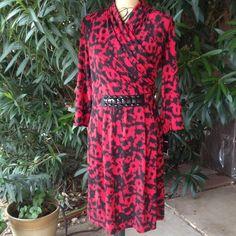 REDUCED Alfani animal print dress NWT FINAL REDUCTION Alfani red and black animal print long sleeve dress. Embellished waistline. @;% polyester and 6% spandex. NWT PRICE IS FIRM Alfani Dresses
