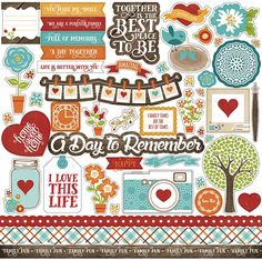 Echo Park - I Love Family Collection - 12 x 12 Cardstock Stickers - Elements