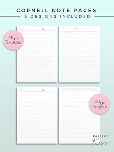 Cornell Note Template Printable Note Inserts Productivity Study