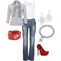 Love the neutral with the red pumps...awesome.  Cute & simple outfit! Now I just need me some red pumps