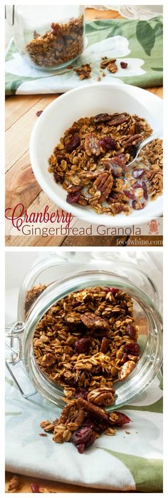 Cranberry Gingerbread Granola. This would be perfect for Christmas morning! Great for giving to family and friends as gifts, too.