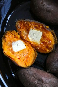 The easiest and way favorite way to make baked sweet potatoes are in the slow cooker rather than the oven! They come out moist and delicious every time.
