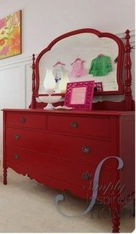 red dresser....need to find a mirror now.