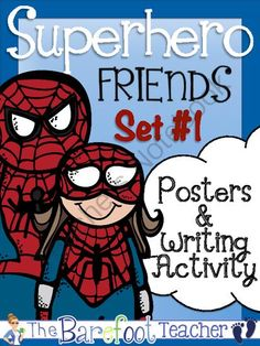 Superheroes Posters (10 Total) & Writing Activity Set #1 from The Barefoot Teacher on TeachersNotebook.com -  (12 pages)  - 10 Superhero related word posters (set #1).  Includes Spider Girl, Storm, Catwoman, Wolverine and 6 more.