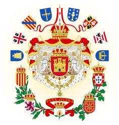 The coat of arms of a Castillian lead united Iberian state, featuring the Kingdoms of Castille, Aragon, Leon, Navarre, Portugal, Granada, Naples, Galicia, the Algarves, and Sardinia, the Principali...