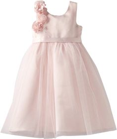 Us Angels Girls 2-6X Empire Dress with Cascade Of Rosettes, Blush Pink, 4T  comes in white too $55