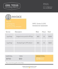 13 best invoices images on Pinterest   Invoice example  Bill     invoice for website design Graphic Design Invoice Template 8 Free Word  Excel Pdf Format