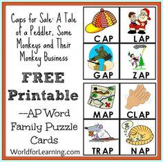 Caps for Sale FREE Printable - AP Word Family Puzzle Cards Word Family Activities, Cvc Word Families, Book Activities, Beginning Of Kindergarten, Kindergarten Books, Preschool Age, Preschool Classroom, Reading Tutoring, Speech And Language