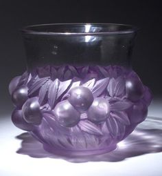 R. LALIQUE Prunes vase, circa 1930, in