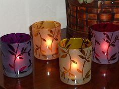 Frosted Etched Autumn Vine Votive Holder w/ 7 Hr Soy Tea Light