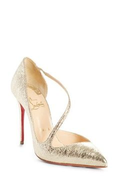 CHRISTIAN LOUBOUTIN STRAPPY HALF D'ORSAY PUMP. #christianlouboutin #shoes #