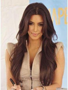Polished Kim Kardashian Hairstyle Long Loose Wavy 26 Inches Lace Front 100% Real Human Hair Wig