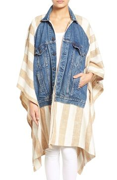 Standard Form Wide Stripe Silk & Denim Poncho available at #Nordstrom