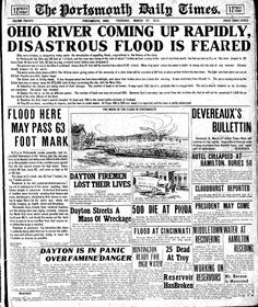 1913 flood of Southern Ohio reported on the front page of Portsmouth Daily Times.