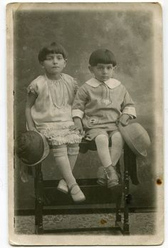 Old snapshot form Greece 1920's two cute children boy and girl holding big hats interesting ORIGINAL vintage photo by PhotoMemoriesLane on Etsy