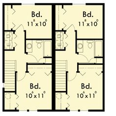 Duplex for Your Narrow Lot - 38006LB | 2nd Floor Master Suite, CAD Available, Narrow Lot, PDF | Architectural Designs