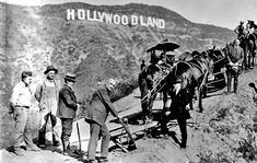 """A DAY in HOLLYWOOD HISTORY - July The Hollywood Sign is officially dedicated in the hills above Hollywood, Los Angeles. It originally reads """"Hollywoodland"""" but the four last letters are dropped after renovation in Hollywood Glamour, Hollywood Sign, Golden Age Of Hollywood, Vintage Hollywood, Classic Hollywood, Hollywood Hills, California History, California Love, Vintage California"""