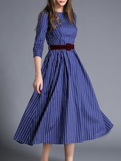 Crew Neck Stripes Casual 3/4 Sleeve A-line Midi Dress