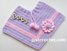 Free baby crochet pattern poncho with applique flower usa ~ size:  6-12 mos.~ how cute will they look in this ~ FREE CROCHET pattern