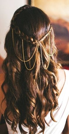 Bride's long down curls bridal hair