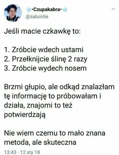 Niewiem czy to dobra metoda ale przetestuje jak będę miała czkawkę może się przydać. Simple Life Hacks, Hacks Diy, Health Advice, Good Advice, Better Life, Good To Know, Life Lessons, Fun Facts, Positivity