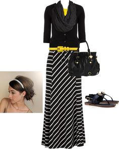 """""""casually cute in black, white, and yellow ;-)"""" by jvs8384 ❤ liked on Polyvore"""