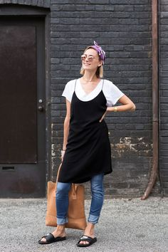 20 Times Toronto Killed The Style Game #refinery29  http://www.refinery29.com/toronto-street-style-summer-2016#slide-21  Give your old skinnies new life with a slip dress and slides. ...