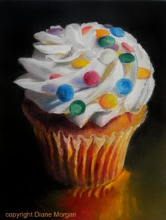 """Connect the Dots""  cupcake still life oil, painting by artist Diane Morgan"