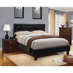 Furniture of America Mircella 2-Piece Black Leatherette Platform Bed with Nightstand Set - Overstock™ Shopping - Big Discounts on Furniture of America Bedroom Sets