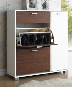 White & Brown Wood Shoe Storage Cabinet | zulily