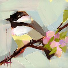 Chickadee no. 603 Art Print by Angela Moulton 6 x 6 inch
