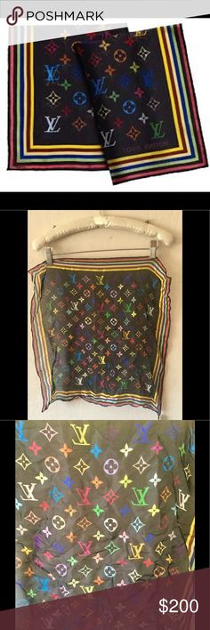 Authentic LOUIS VUITTON Silk Square Scarf Authentic LOUIS VUITTON Silk Monogram Multicolor Square Scarf Black This chic scarf is 100% silk. It features a Multicolore Louis Vuitton monogram in 33 vibrant colors against a black ground. This is a marvelous scarf, ideal to be used in a variety of stylish ways, from Louis Vuitton. Snag down middle of scarf. Length: 17 in Height: 18 in Louis Vuitton Accessories Scarves & Wraps