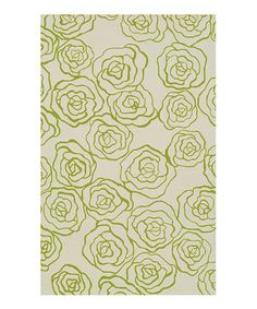 Take a look at this Ivory & Green Deco Rose Wool Rug by The Rug Market on #zulily today! $230-$490 !!